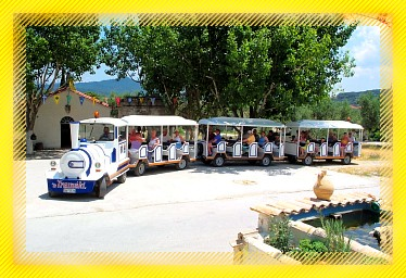 Tourist train in Alykes Zakynthos Zante Greece